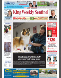 While attending the Aurora & District Kennel Club at the end of May, the local paper stopped to interview Tori and I.  We made the front page!